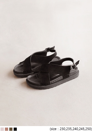 [SHOES] ENOUGH SUEDE X STRAP SANDAL