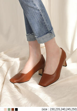 [SHOES] RECTANGLE TOE MIDDLE HEEL
