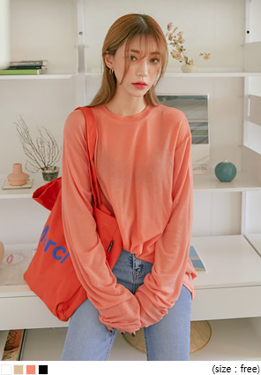 [TOP] TONING TENCEL LONG SLEEVE T