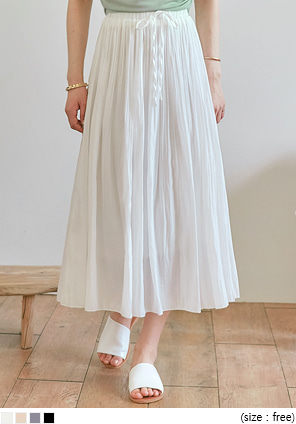 [SKIRT] FOLD WRINKLE BANDING LONG SKIRT