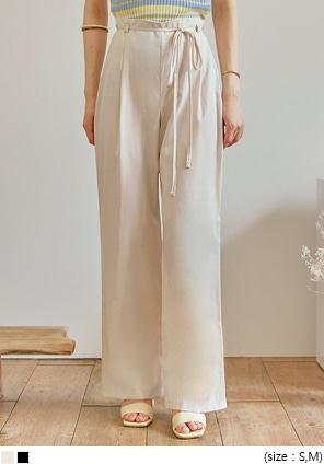 [BOTTOM] TWIT SATIN STRAP WIDE PANTS
