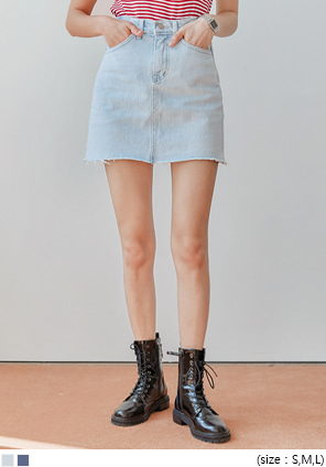 [SKIRT] HALVE DENIM MINI SKIRT