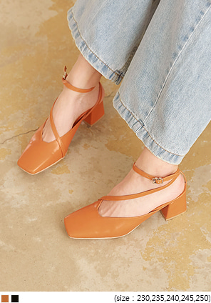 [SHOES] FABBO SQUARE STRAP MIDDLE HEEL