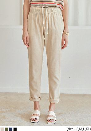 [BOTTOM] CLASP BANDING SEMI BAGGY PANTS