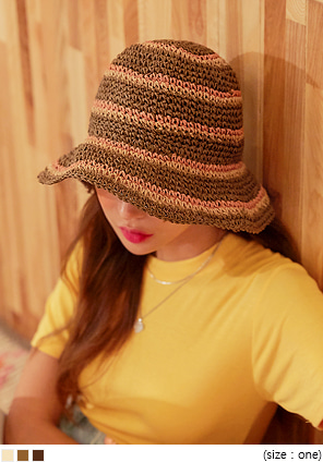 [ACC] HAZEL COLOR MIX PAPER BUCKET HAT