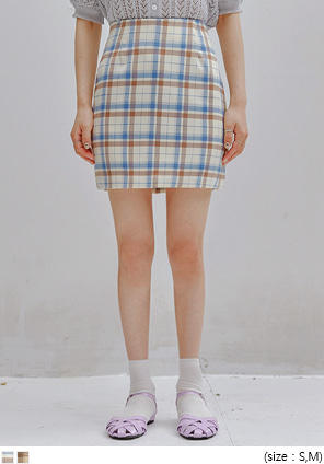 [SKIRT] ONDE CHECK H LINE MINI SKIRT