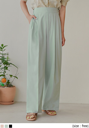 [BOTTOM] AGNES SIDE SLIT WIDE LONG SLACKS