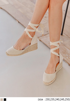 [SHOES] ESPADRILLE LACE-UP WEDGE HEEL