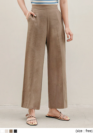 [BOTTOM] BURT LINEN SIDE ZIPPER WIDE PANTS