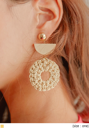 [JEWELRY] CALEY WOOD RATTAN DROP EARRING