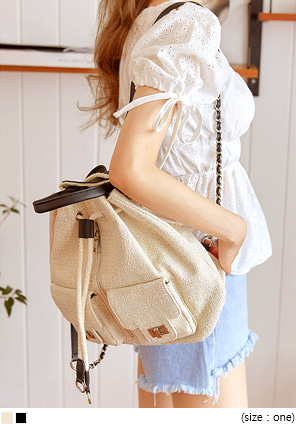 [BAG] NICOLE TWEED BUCKET BACKPACK