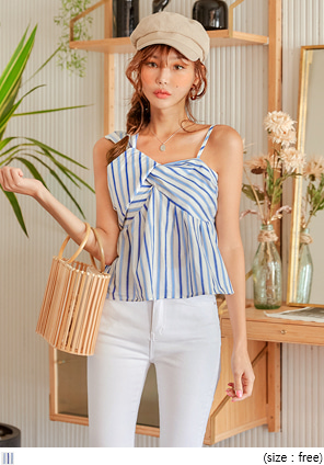 [TOP] SENNY STRIPE TWIST POINT SLEEVELESS