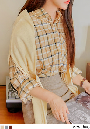 [TOP] KIMA CHECK LOOSE FIT SHIRTS