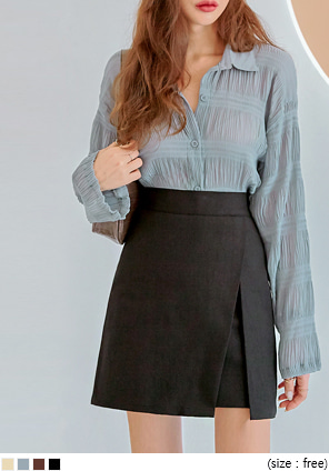 [TOP] AROOS WRINKLE SEETHROUGH BLOUSE