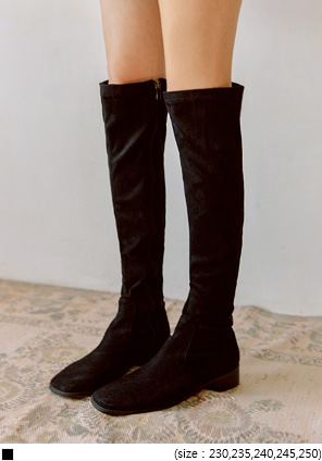 [SHOES] PONTA SUEDE SQUARE HIGH BOOTS