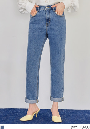 [BOTTOM] ROLL UP SEMI BAGGY DENIM PANTS