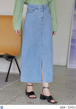 [SKIRT] ROMEL SLIT DENIM LONG SKIRT
