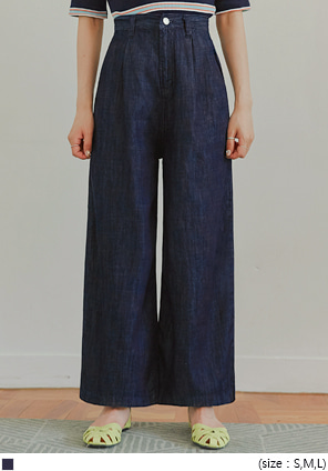 [BOTTOM] MODEN PINTUCK WIDE DENIM PANTS