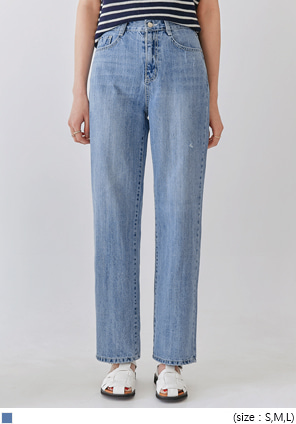 [BOTTOM] HOI WASHING DAMAGE DENIM PANTS