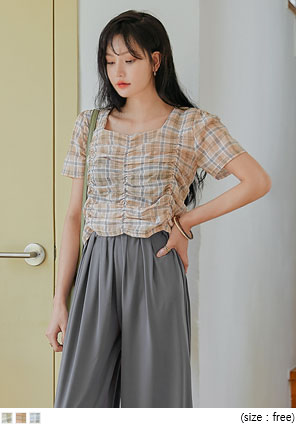 [TOP] PETRA CHECK SHIRRING 1/2 BLOUSE