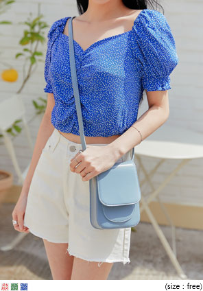 [TOP] HEART BANDING CROP 1/2 BLOUSE
