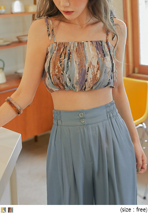 [TOP] MARBLING CROP SLEEVELESS
