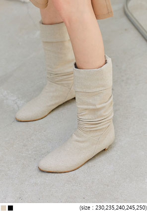 [SHOES] LINEN WESTERN LONG BOOTS