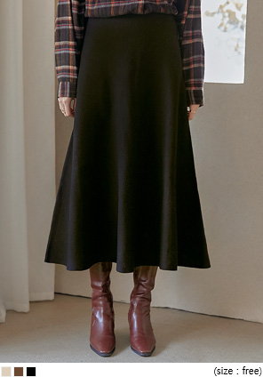[SKIRT] SHARE FLARE KNIT LONG SKIRT