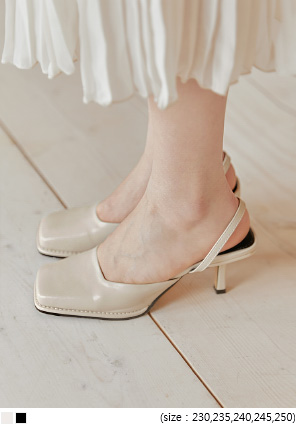 [SHOES] RIZY SQUARE SLINGBACK MIDDLE HEEL