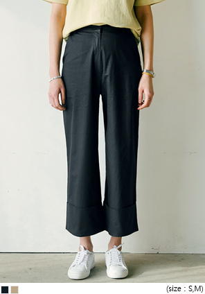 [BOTTOM] HIGH WAIST ROLL UP WIDE PANTS