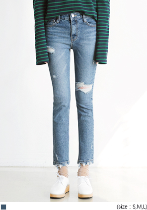 [BOTTOM] ROUGH DAMAGE DENIM PANTS