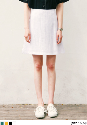 [SKIRT] COLOR LINEN FLARE SKIRT