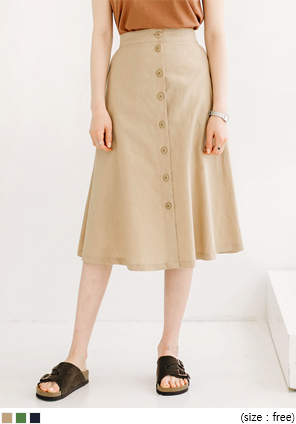 [SKIRT] A LINE BUTTON LINEN SKIRT